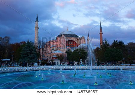ISTANBUL, TURKEY - OCTOBER 31, 2015: Hagia Sophia (Ayasofya) temple at sunset.