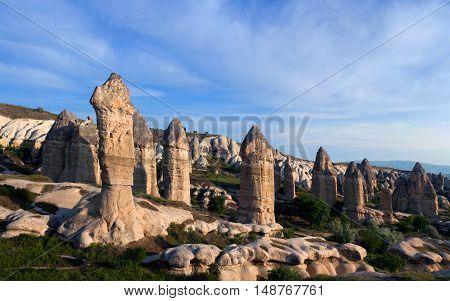Unique geological formations in Love valley, Cappadocia, Turkey.