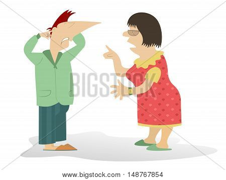 Quarrel. Woman scolds the man who closes his ears by fingers
