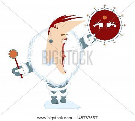 Shaman. Screaming man beats the tambourine illustration
