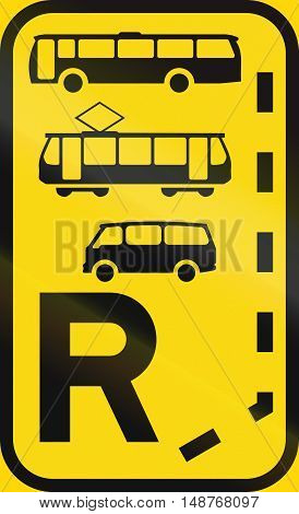 Temporary Road Sign Used In The African Country Of Botswana - Start Of A Reserved Lane For Buses, Tr