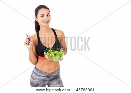 Smiling Girl Happily Eating Her Salad