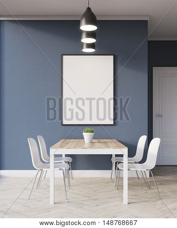 Poster On Blue Wall In Dining Room