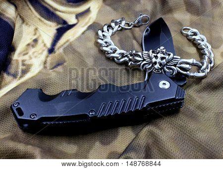 Men's Bracelet And Army Knife