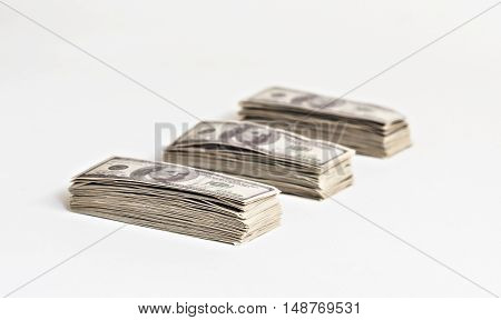 a large a pack of dollars isolated.
