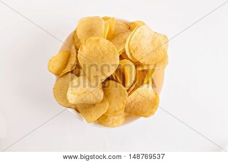 Potato Chips In A White Dish Isolated
