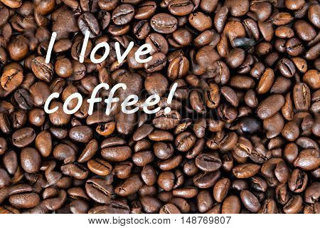 Inscription Against The Continuous Background Of Coffee Beans