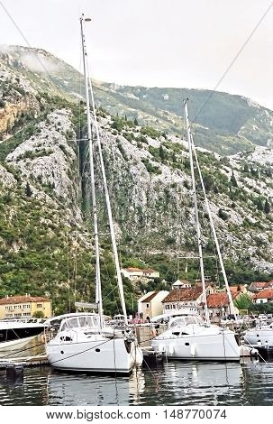 Yacht On The Dock In The Bay Of Kotor In Montenegro