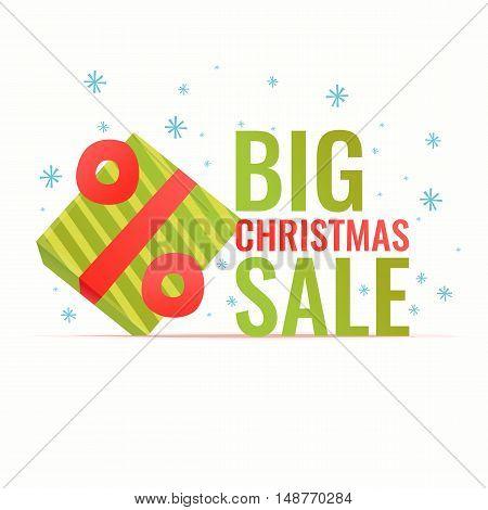 Original concept poster discount sale. Christmas banner. Vector illustration