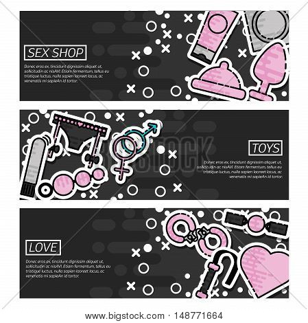 Set of Horizontal Banners about Sex Shop. Vector illustration, EPS 10