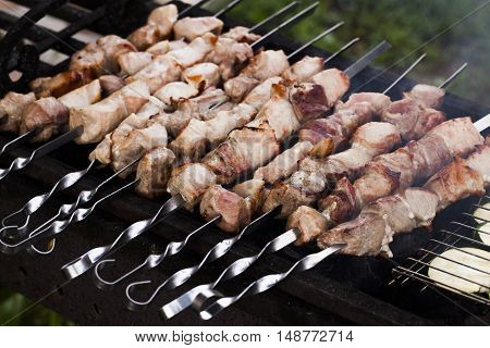 meat kebab skewers on the grill on fire outside bbq