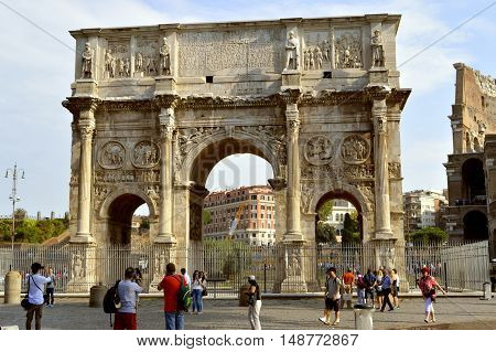Rome Italy - September 11 2016 : The historical Arch of Constantine in Rome