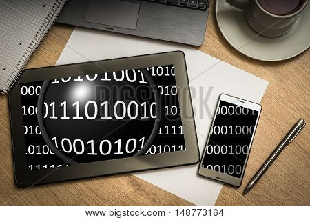 Digital Tablet With Binary Code On Screen