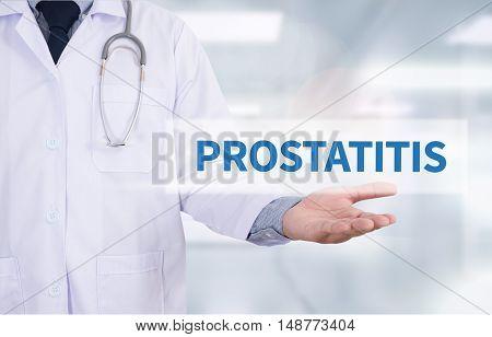 PROSTATITIS Medicine doctor hand working doctor work to touch hand