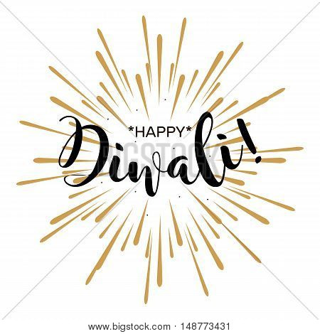 Happy Diwali. Beautiful greeting card poster with calligraphy black text word gold fireworks. a