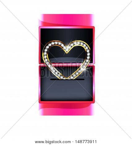 dark background, pink gift box and the jewelry heart