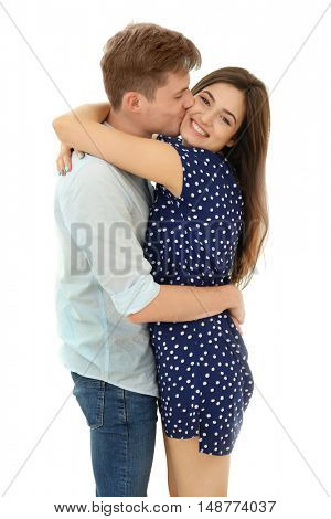 Beautiful young couple isolated on white