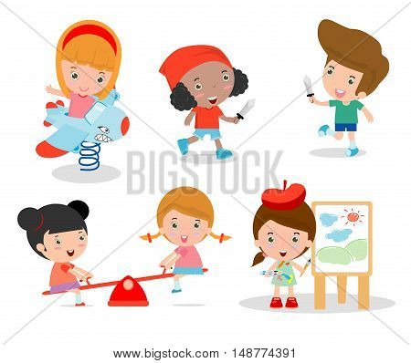 cute children playing with toys in playground, children in the park, kids time isolated on white background, Vector Illustration.