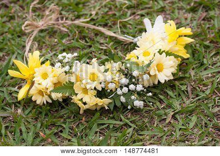 Fresh yellow flowers on green grass environment