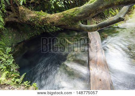 Water gushing from an underground in Kirishima, Kagoshima