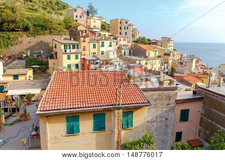 Riomaggiore village in the Cinque Terre National Park. Italy. Liguria.