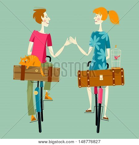 Young couple in love on bikes with suitcases a cat and a cage with a bird. Time to travel. Vector illustration