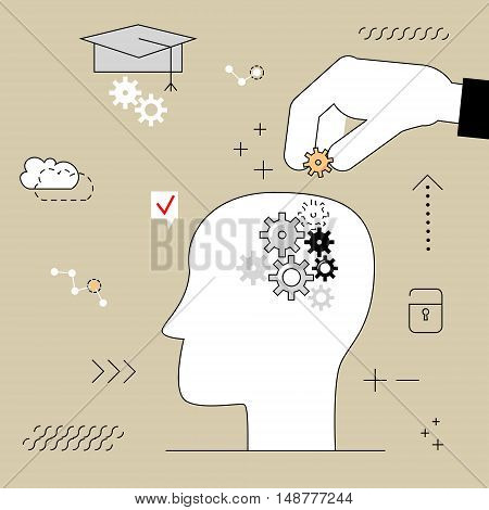Human head with gears . Thinking education. Hand puts the item into your head . Vector illustration of a flat