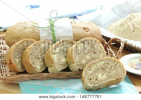 freshly baked ciabatta bread on basket with flour in the background