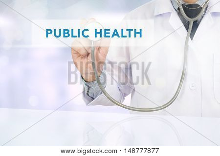 PUBLIC HEALTH CONCEPT doctor work to touch hand
