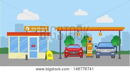 Cars at a gas station near shop. Vector illustration