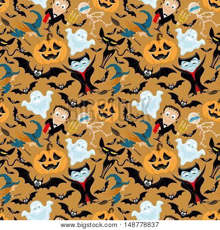 Pattern for seamless background witch, monster, mummy, ghost, vampire, bats, pumpkin and black cat.