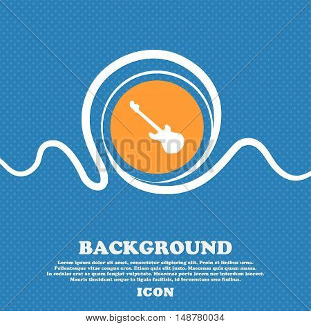 Guitar Icon Sign. Blue And White Abstract Background Flecked With Space For Text And Your Design. Ve