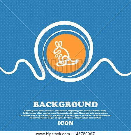 Kangaroo Icon Sign. Blue And White Abstract Background Flecked With Space For Text And Your Design.
