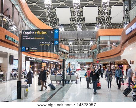 Unidentified People In Departure Hall Of Sabiha Gokcen International Airport (saw) In Istanbul, Turk