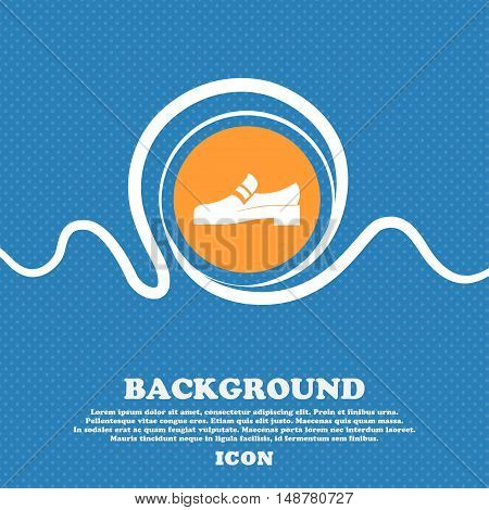 Shoe Icon Sign. Blue And White Abstract Background Flecked With Space For Text And Your Design. Vect