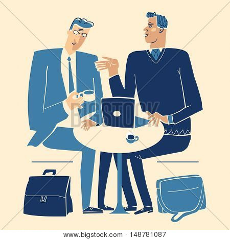 Two businessmen with a laptop discussing opportunities over coffee.