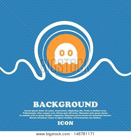Ghost Icon Sign. Blue And White Abstract Background Flecked With Space For Text And Your Design. Vec