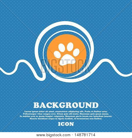 Paw Icon Sign. Blue And White Abstract Background Flecked With Space For Text And Your Design. Vecto