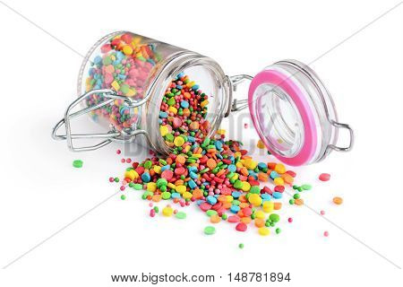 Colorful Confectionery Sprinkling And Glass Jar
