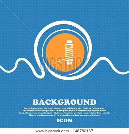 Thread Icon Sign. Blue And White Abstract Background Flecked With Space For Text And Your Design. Ve