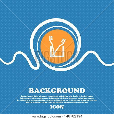 Toothbrush Icon Sign. Blue And White Abstract Background Flecked With Space For Text And Your Design