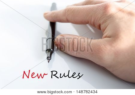 New rules text concept isolated over white background