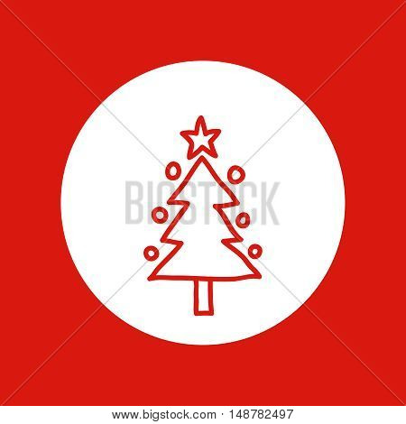 Hand drawn Christmas and New Year icon, vector design element, red line illustration isolated on white. Christmas tree with hanging ornaments and star topper