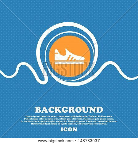 Running Shoe Icon Sign. Blue And White Abstract Background Flecked With Space For Text And Your Desi