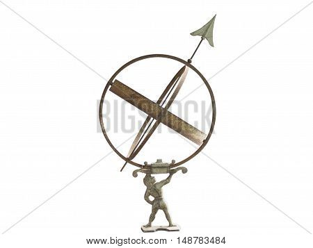 armillary sphere dial isolated on white background.