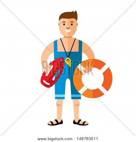 Man wirh rescue buoy and Life ring. Isolated on a White Background