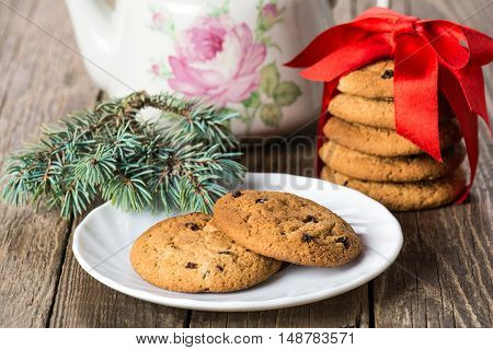 Christmas cookies with raisins. Christmas decorations.Selective focus