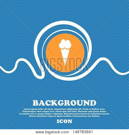 Ice Cream Icon Sign. Blue And White Abstract Background Flecked With Space For Text And Your Design.