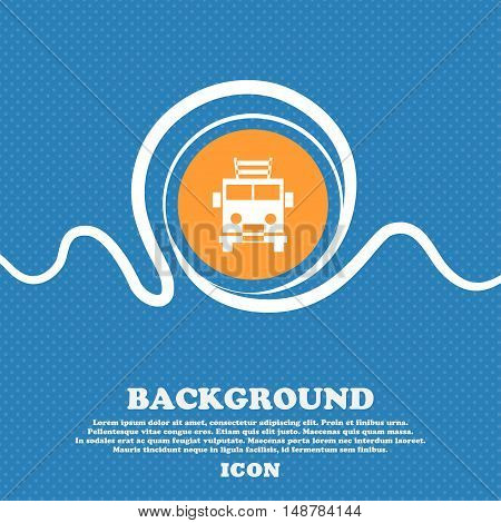 Fire Engine Icon Sign. Blue And White Abstract Background Flecked With Space For Text And Your Desig