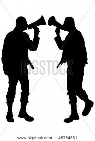 Man with a megaphone on white background